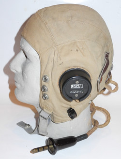 RAF Type D flying helmet with internal wiring, neck-flap removed