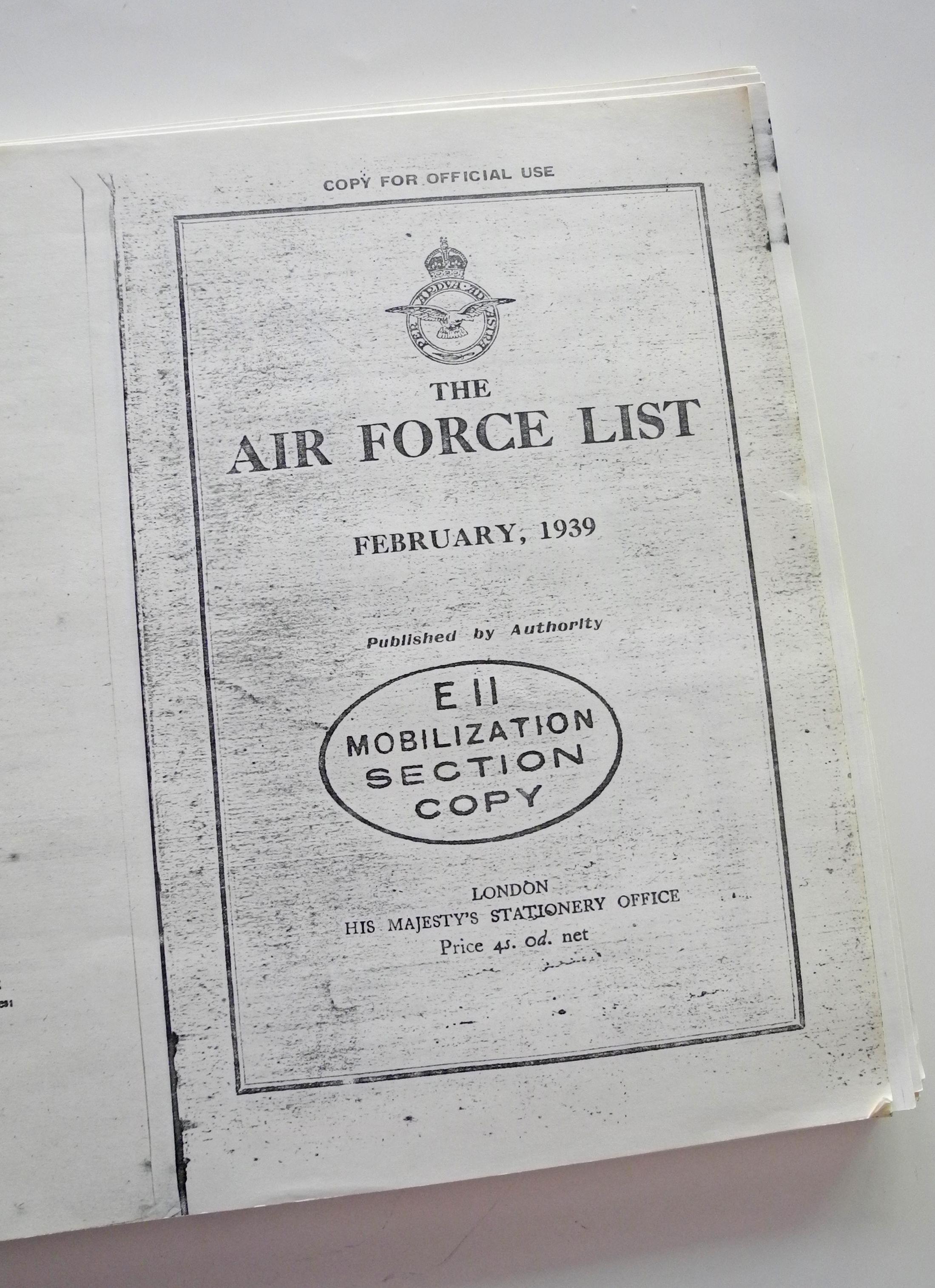 RAF List February1939