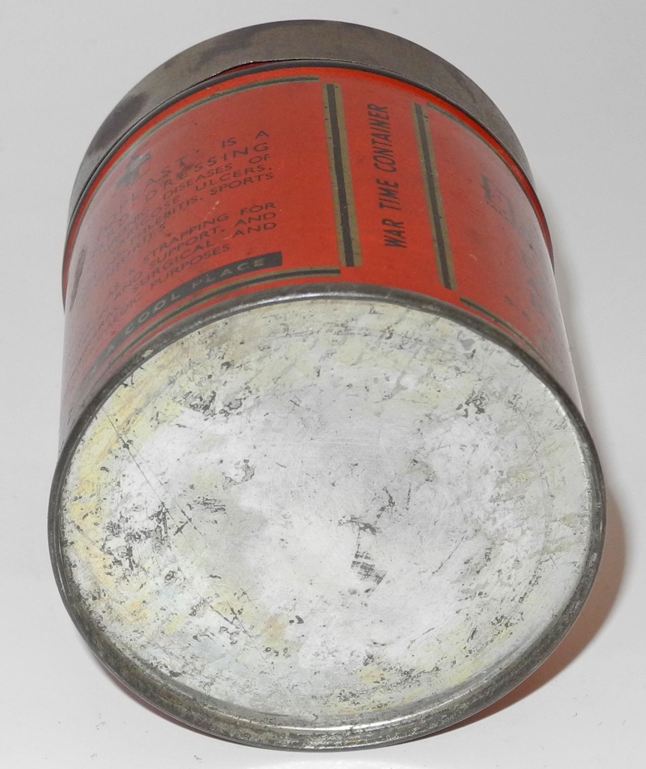 WWII First Aid Kit tin containing full roll of Elastoplast adhesive bandage