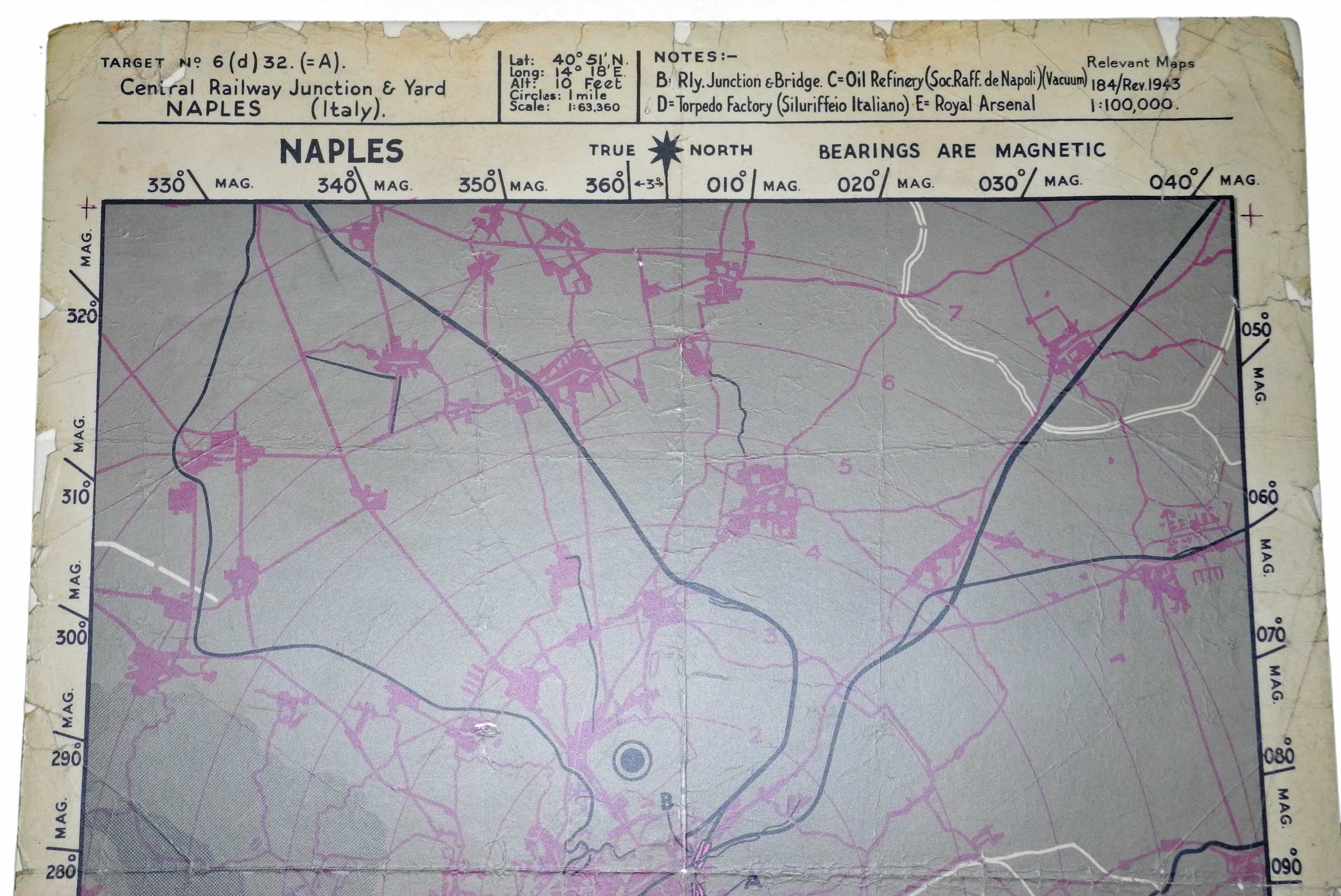 RAF Bombing Chart Naples
