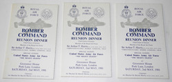 Bomber Command dinner menus