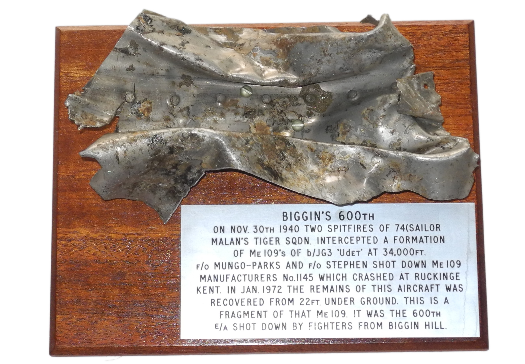 RAF Biggin Hill 600th kill relic