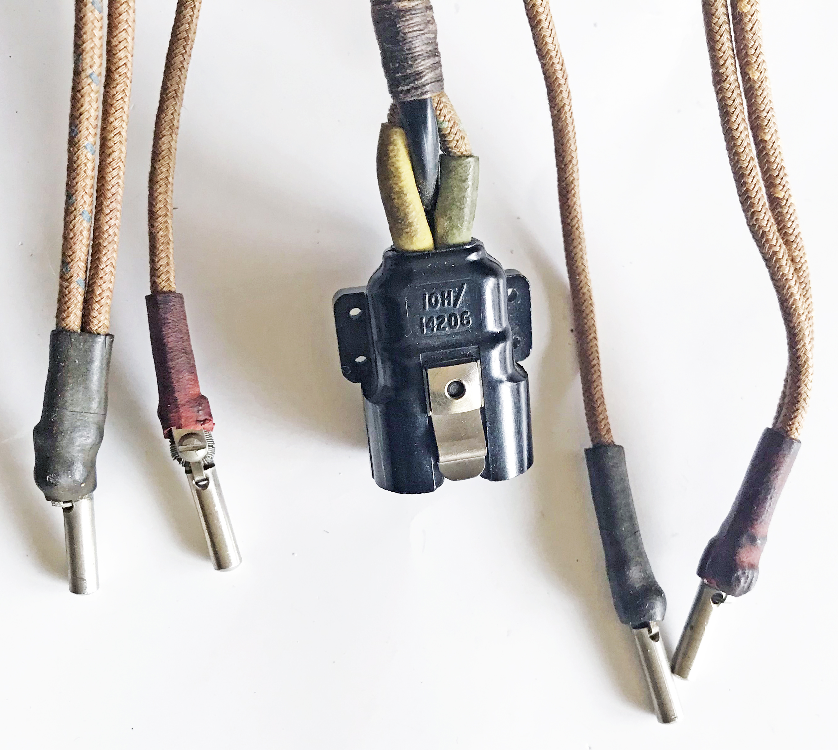 RAF flying helmet wiring loom/cord Type 2186 for using American ANB-H-1 receivers in a Type C, D or