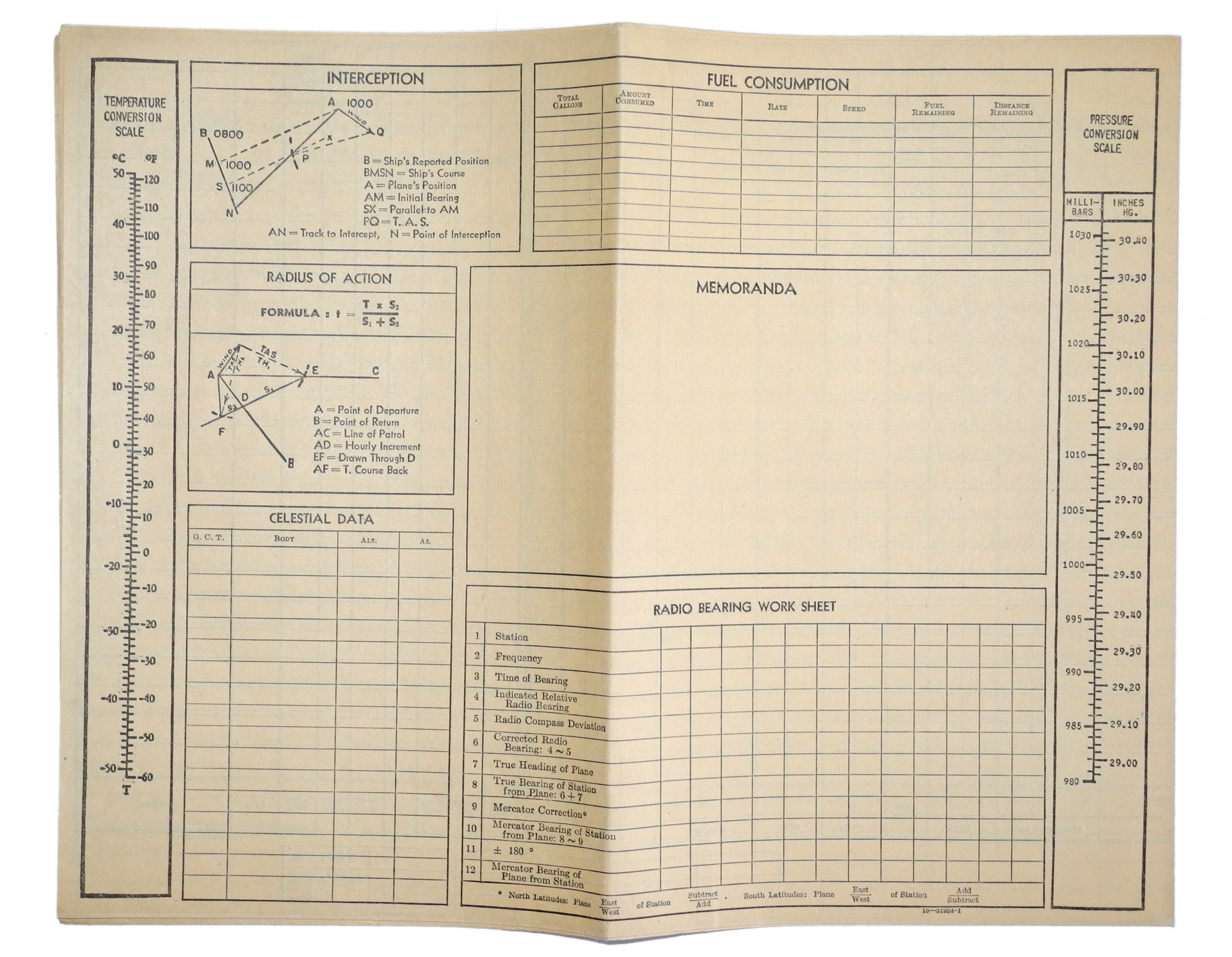 AAF Navigator's Flight Log sheet