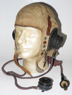RAF Type D flying helmet, first type, with external wring / Type 26 microphone assembly