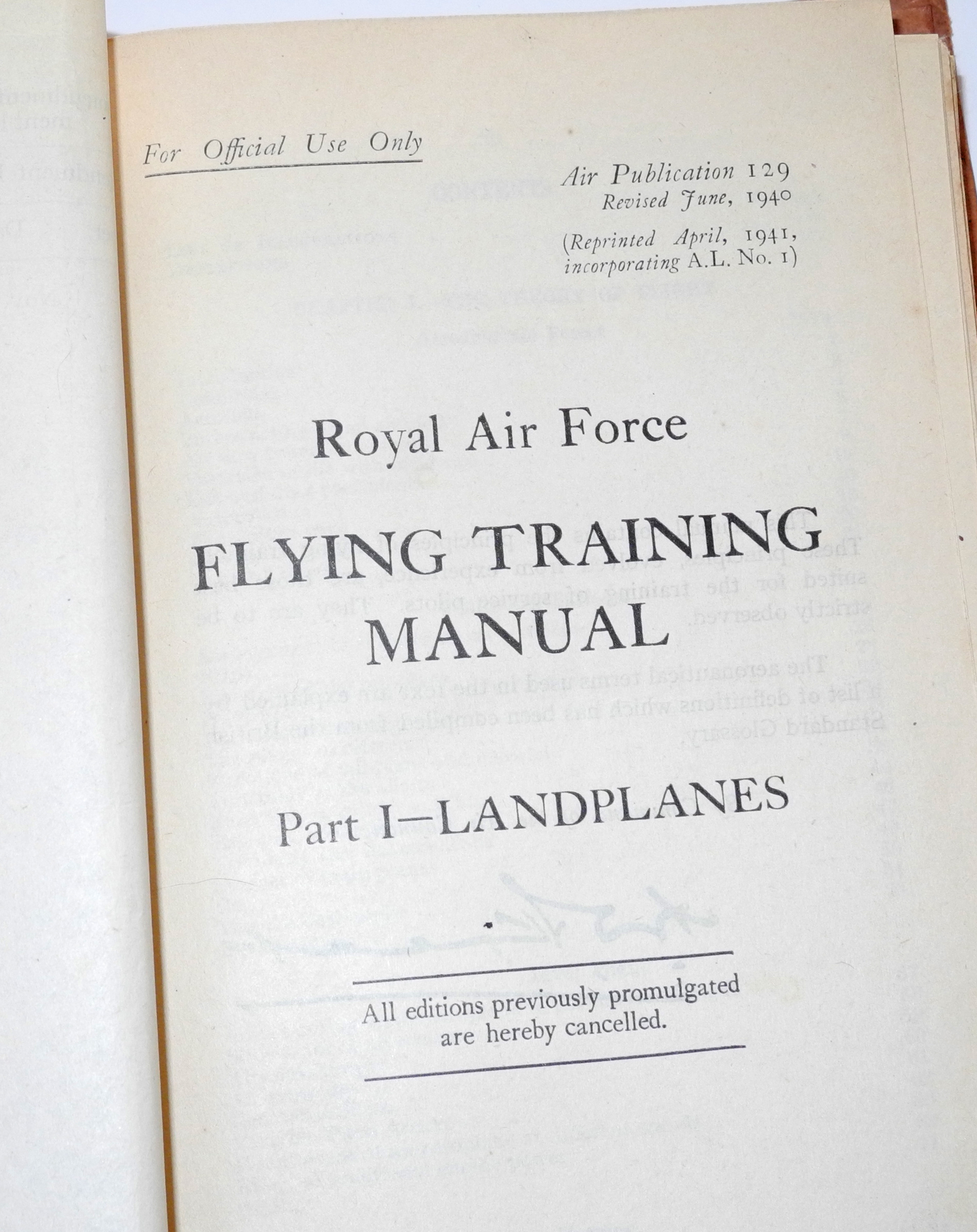 RAF A129 Flying Training Manual 1940