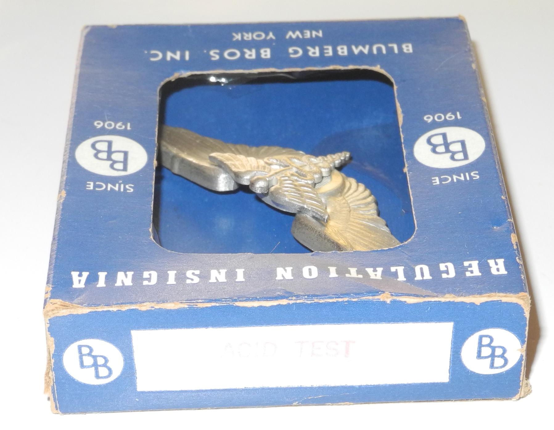 WWII period full-size silver flight surgeon's wing in original box, unused.