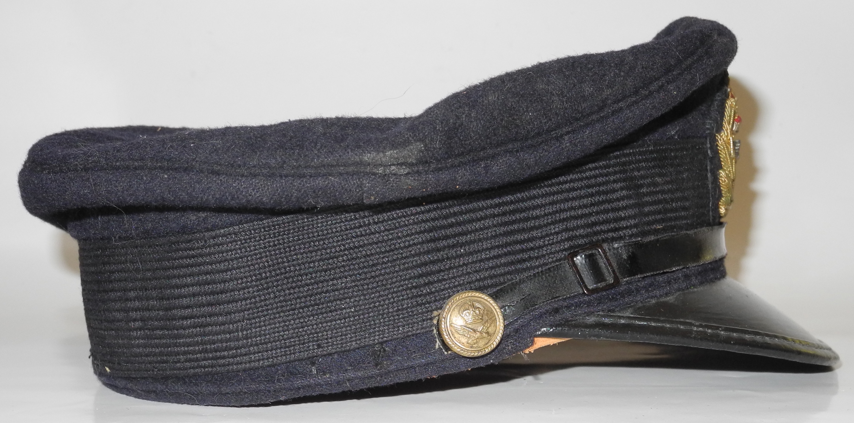 RNAS officer's cap with reproduction badge
