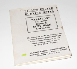 RAF copy of the engine notes for the Curtiss Kitty Hawk fighter.