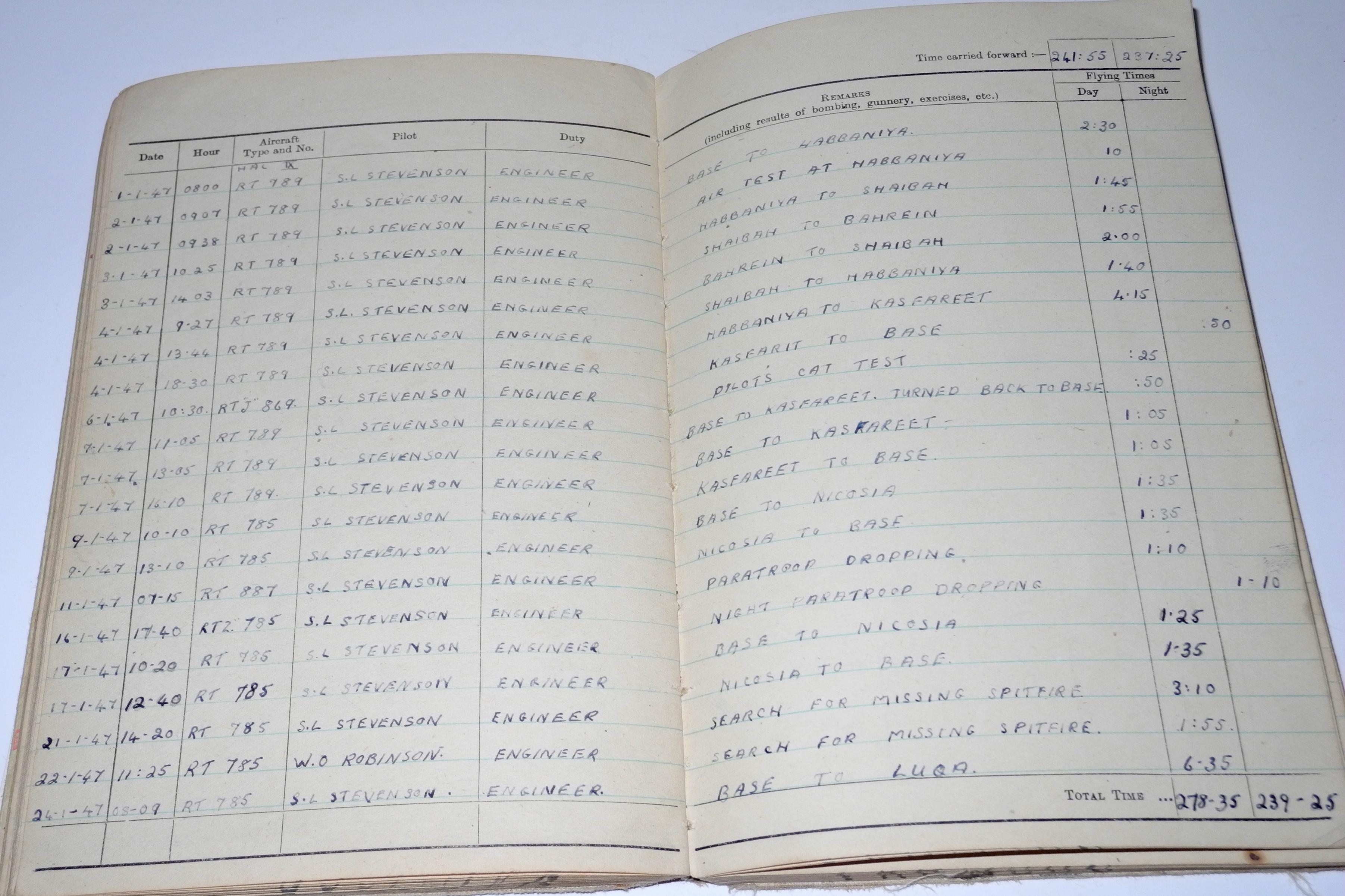 RAF Flight Engineer log book 625 sq
