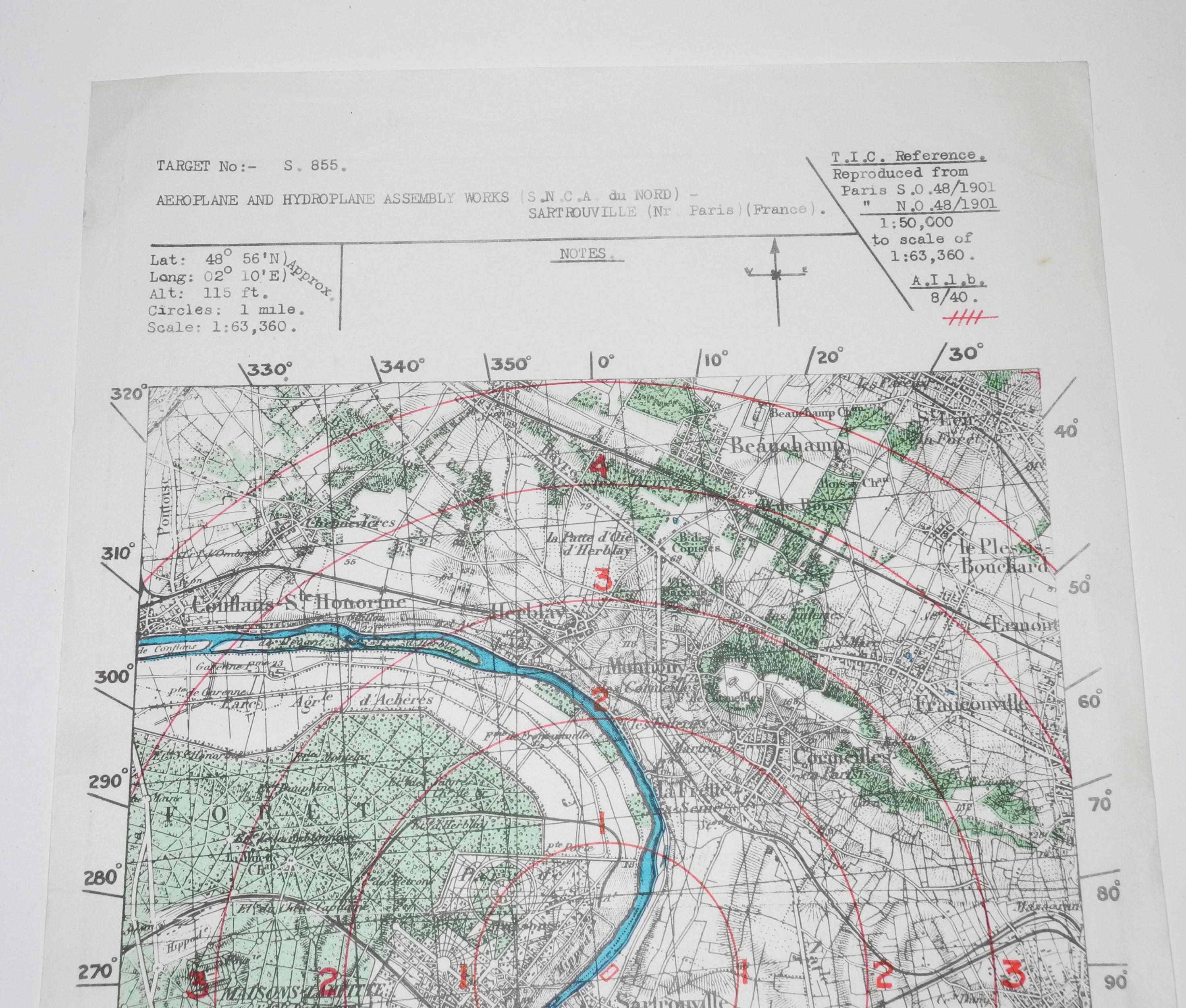 RAF target map Sartrouville aircraft factory