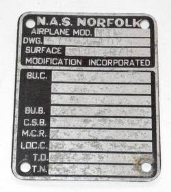 USN aircraft data plate for N-3N trainer aircraft
