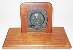 USAAF aircraft clock mounted  in wood frame