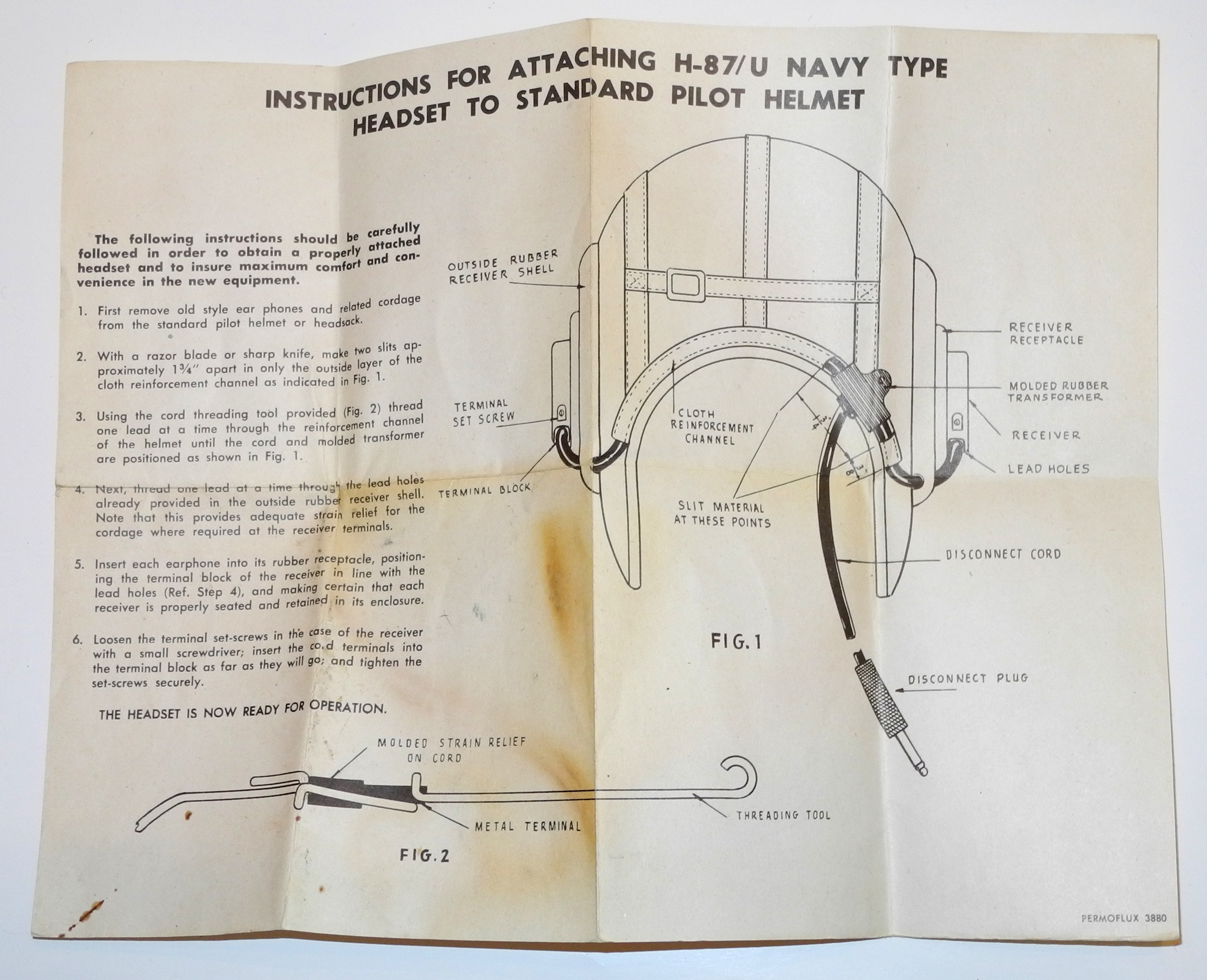 Instruction sheet for USN H-87/U helmet radio headset