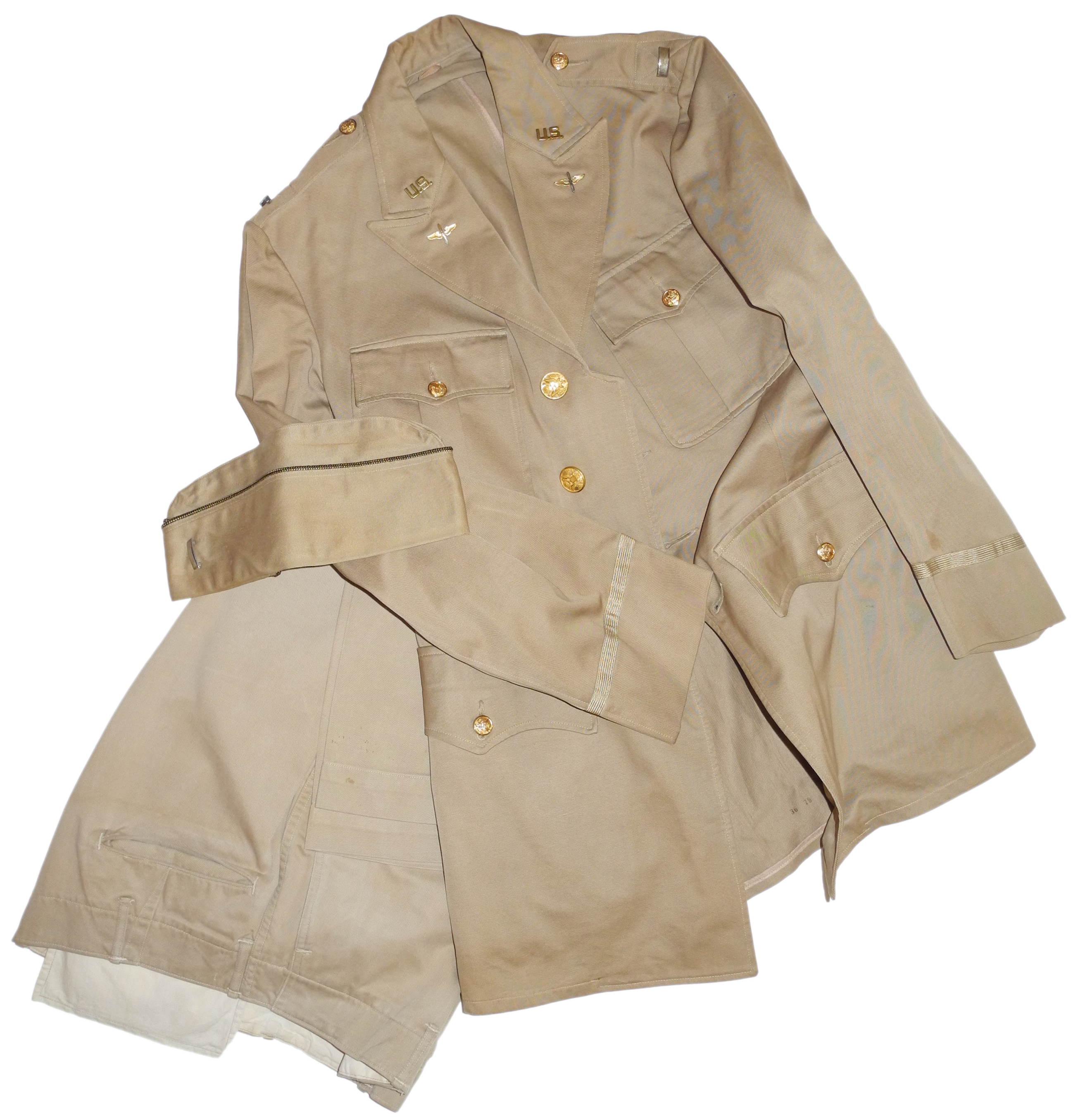 Complete AAF summer uniform: sidecap, 4-pocket tunic and trousers