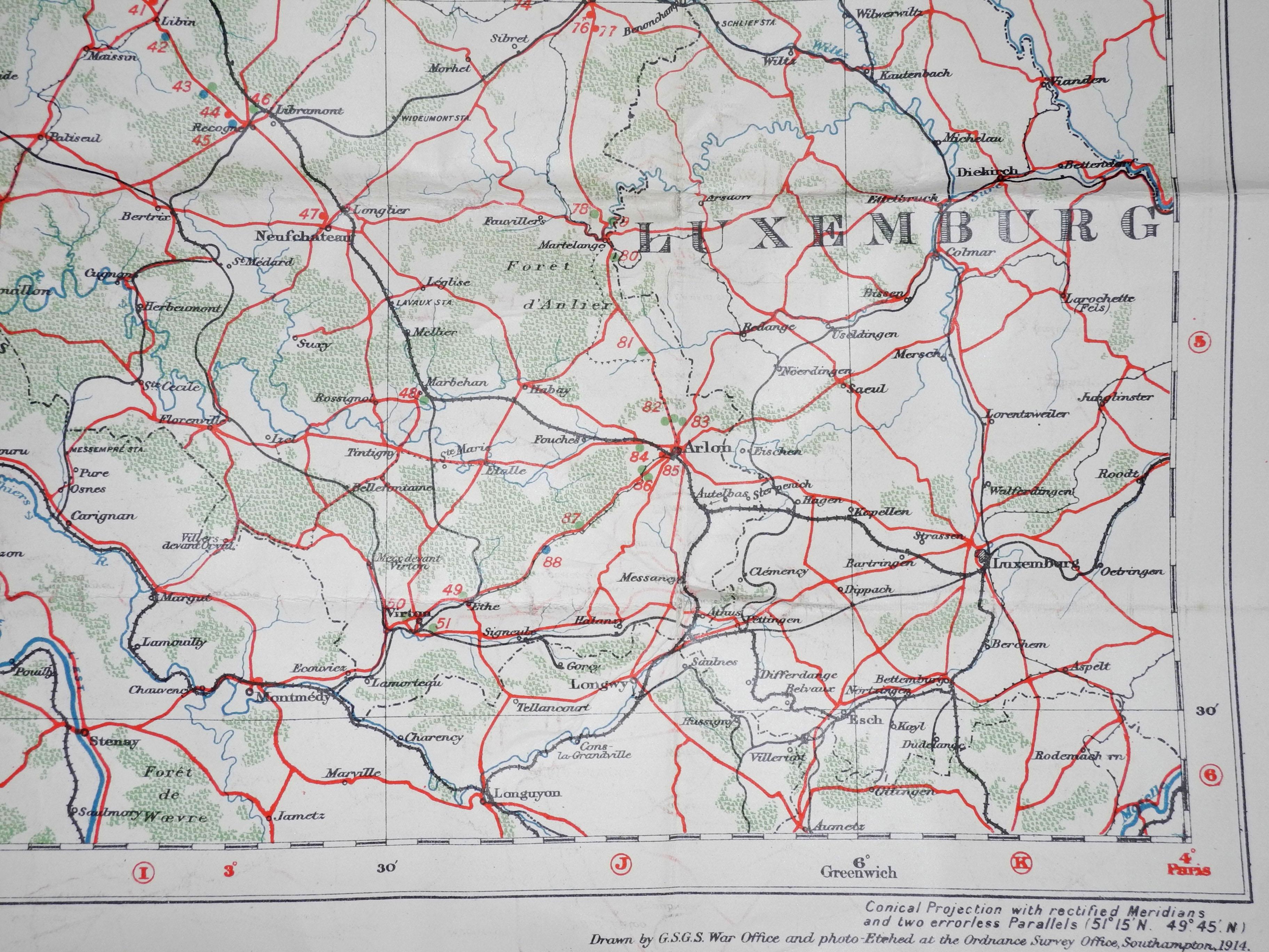WWI emergency landing ground map
