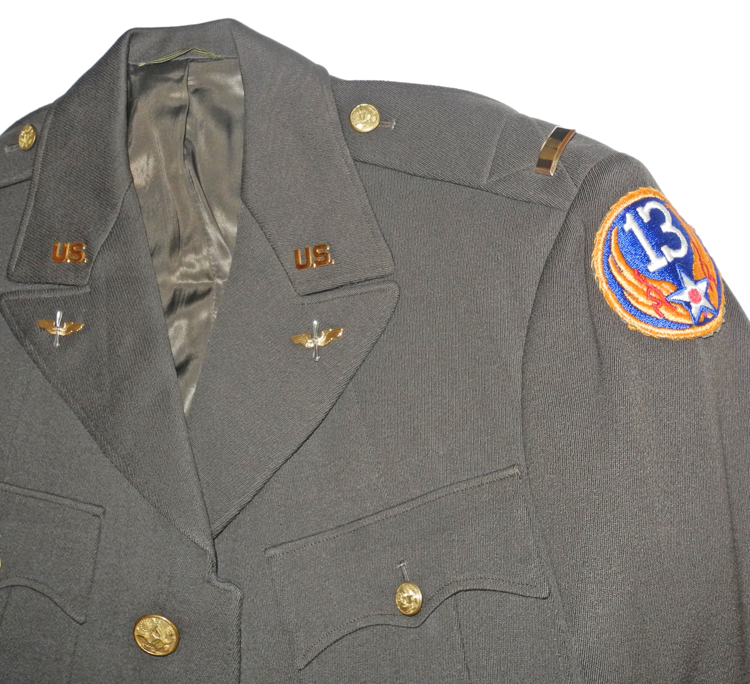 AAF officer's green 4-pocket tunic 13th AF65
