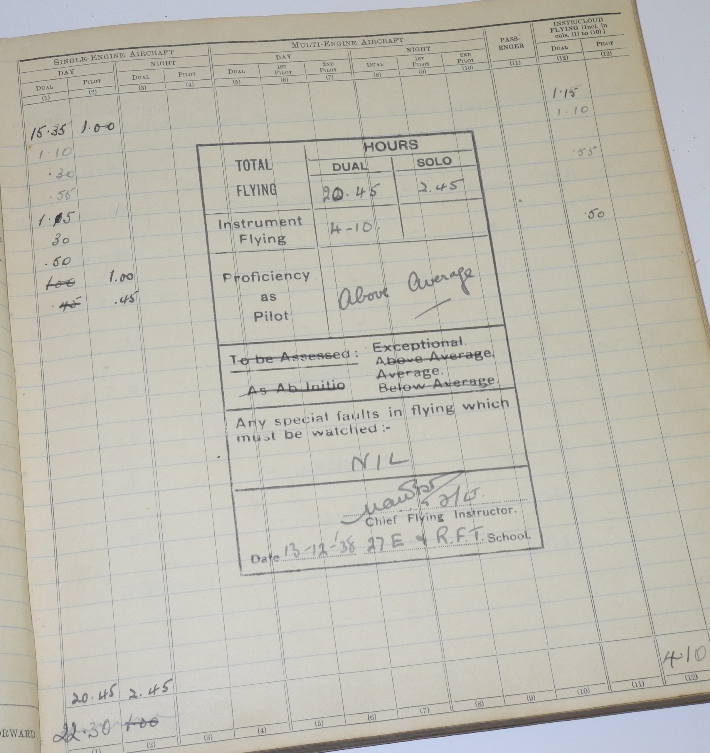 RAF Fighter Pilot Log Book battle of Britain 229 Squadron