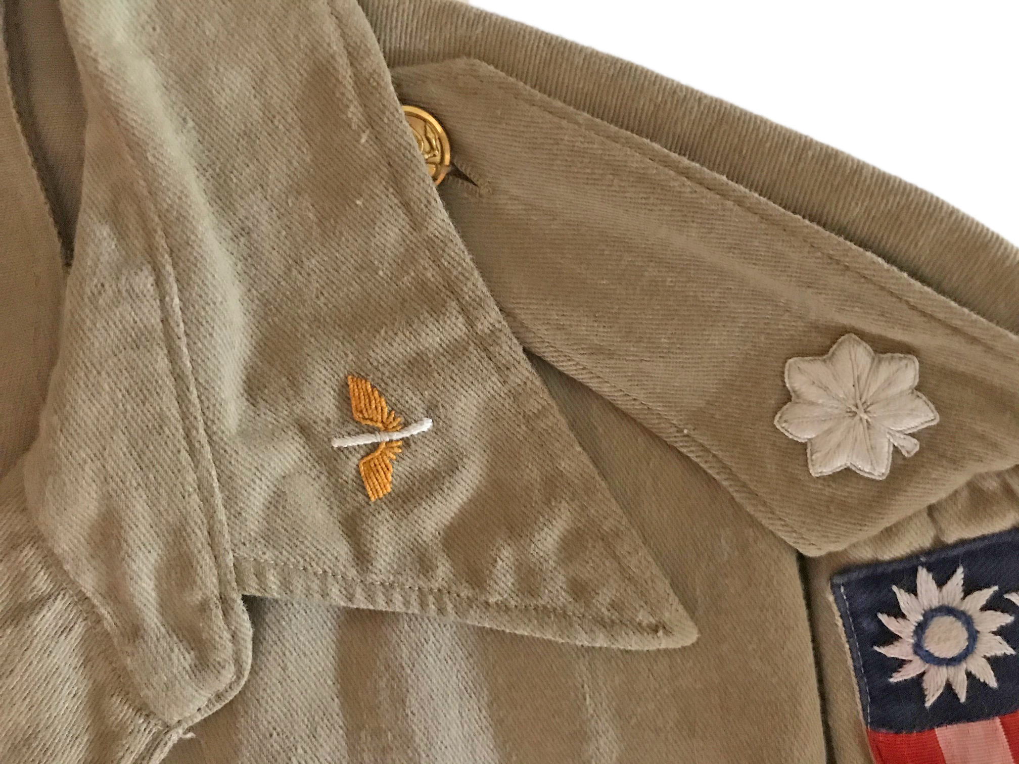 AAF CBI pilot's custom made tan cotton shirt