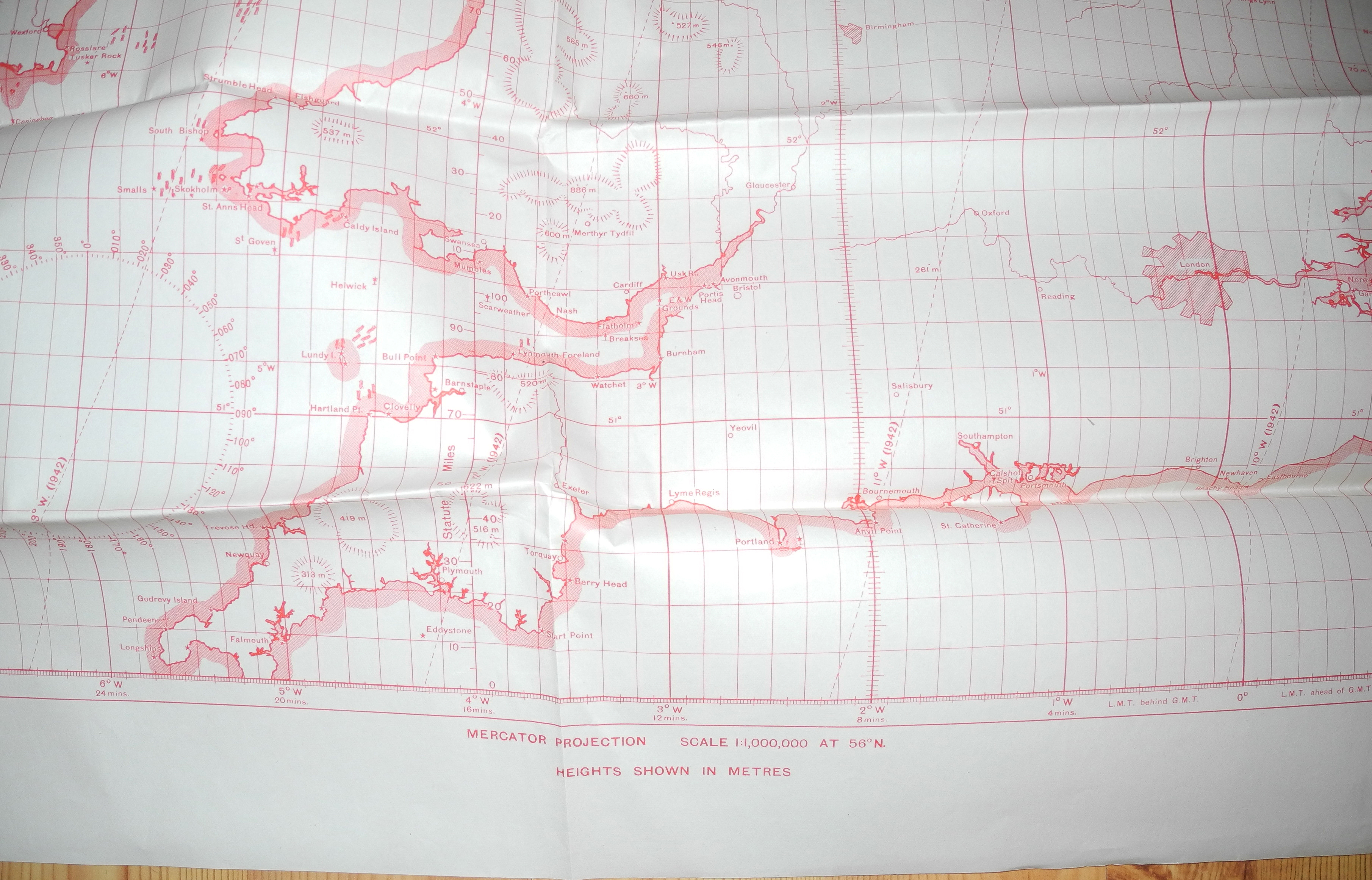 RAF navigator's plotting chart UK