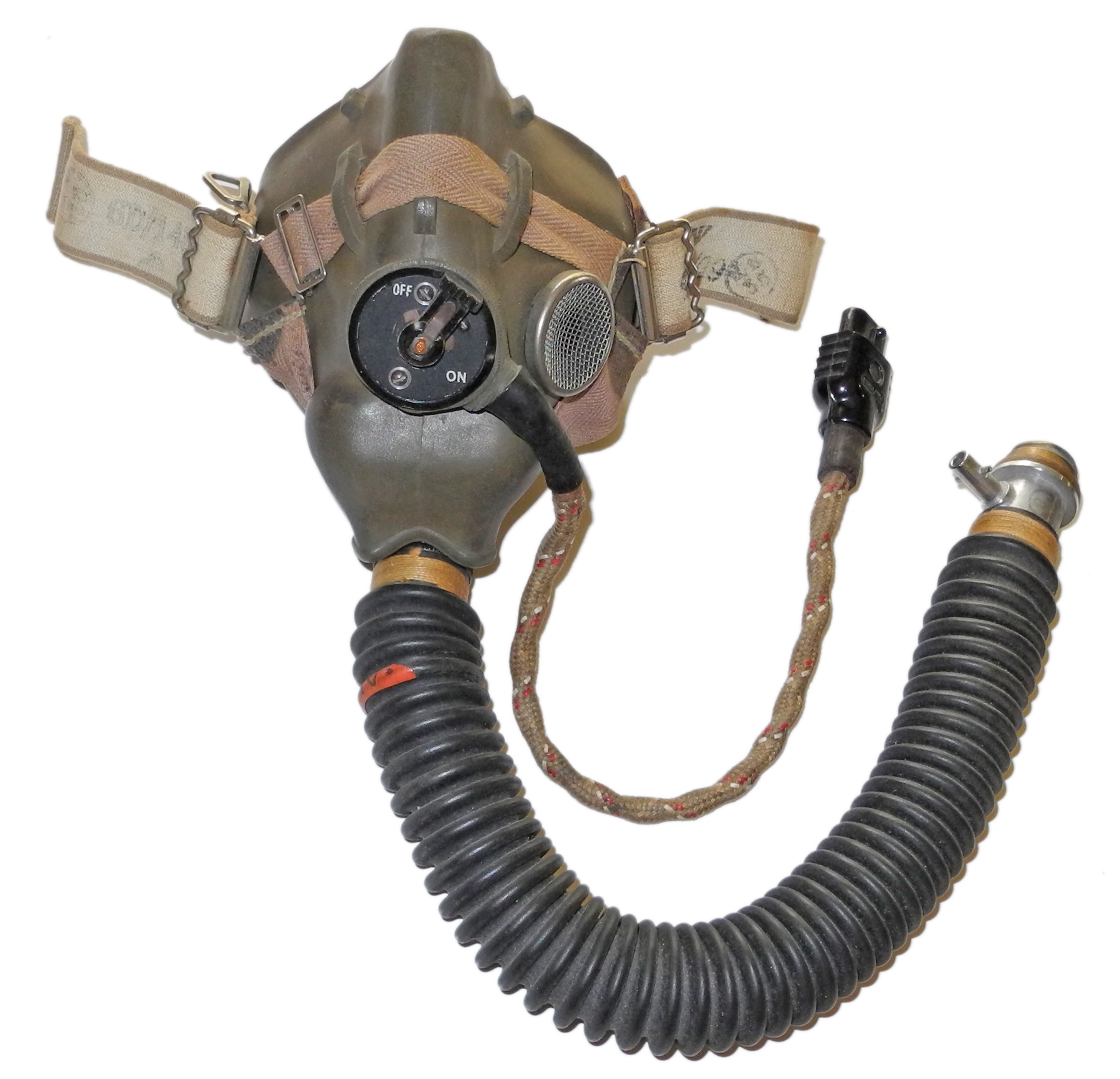RAF Type H mask with hose dated 1952