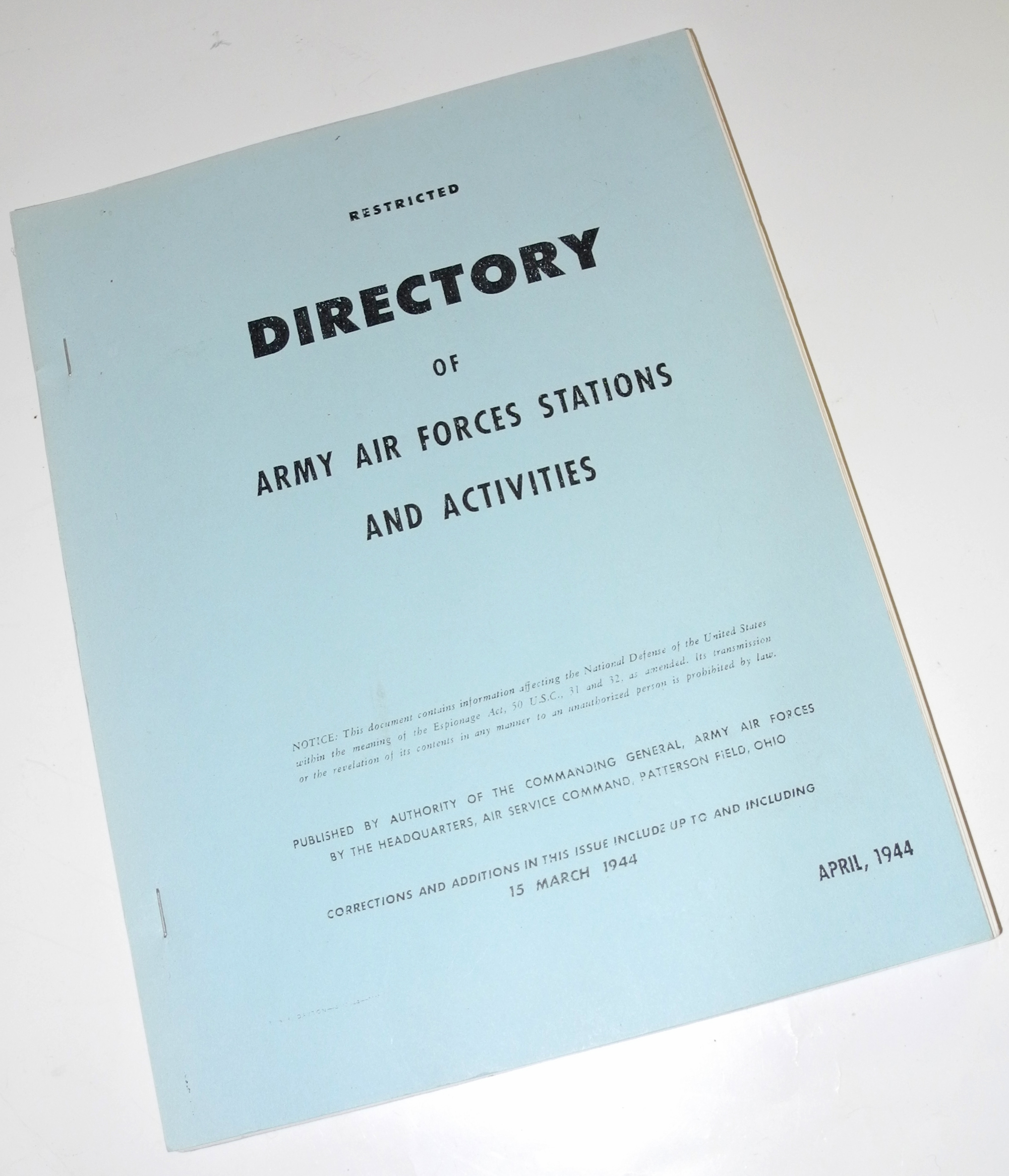 WWII Directory of AAF bases