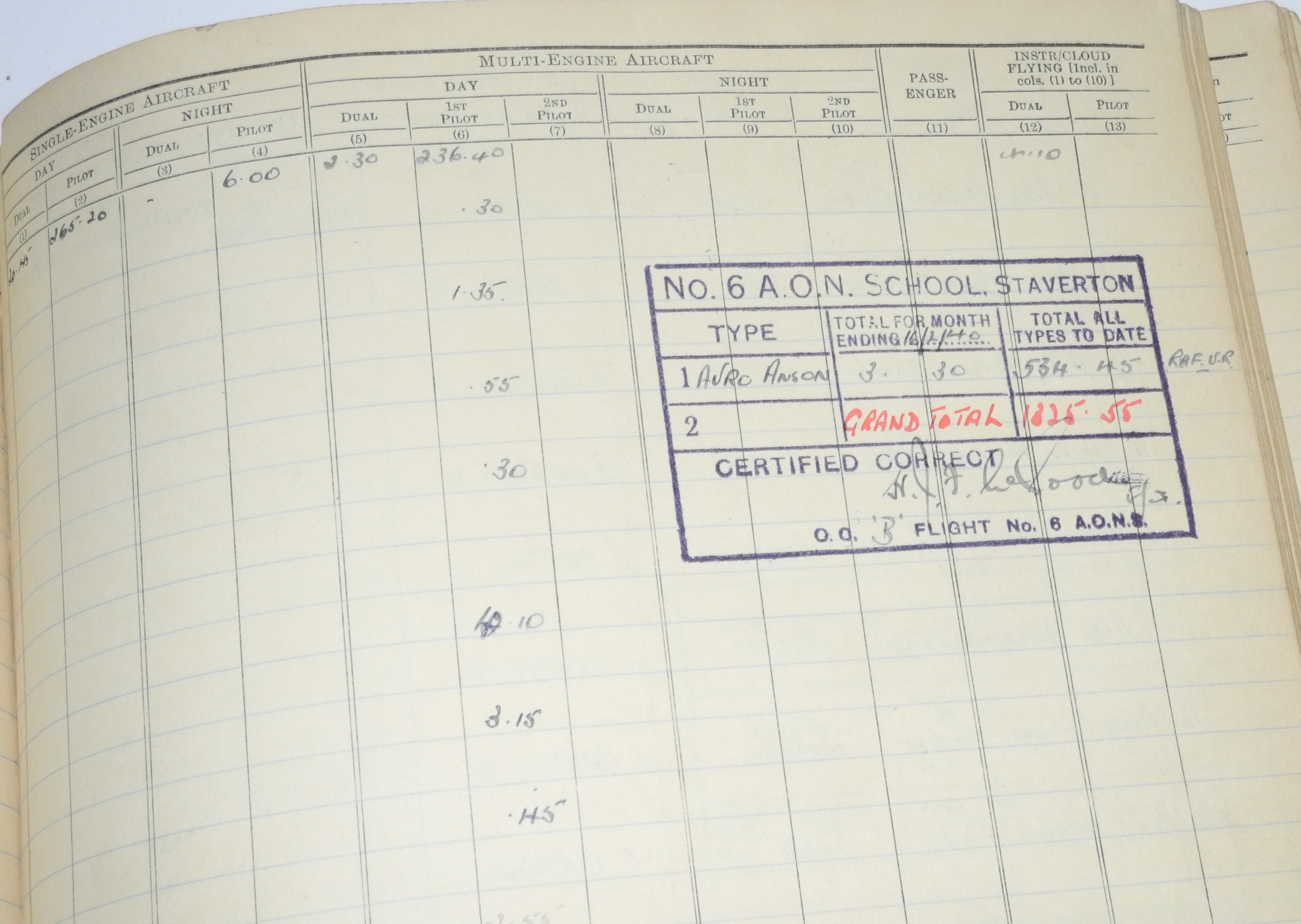 RAF Fighter Pilot Log Book battle of Britain 229 Squadron24