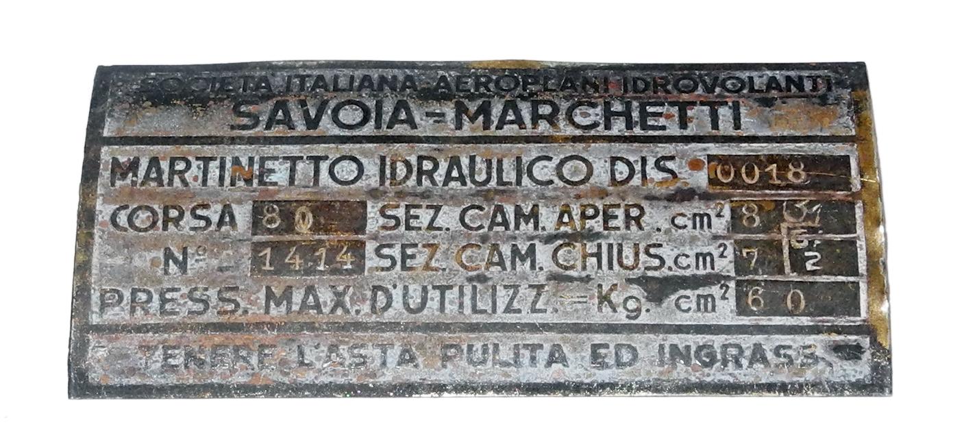 Savoia Marchetti data plate
