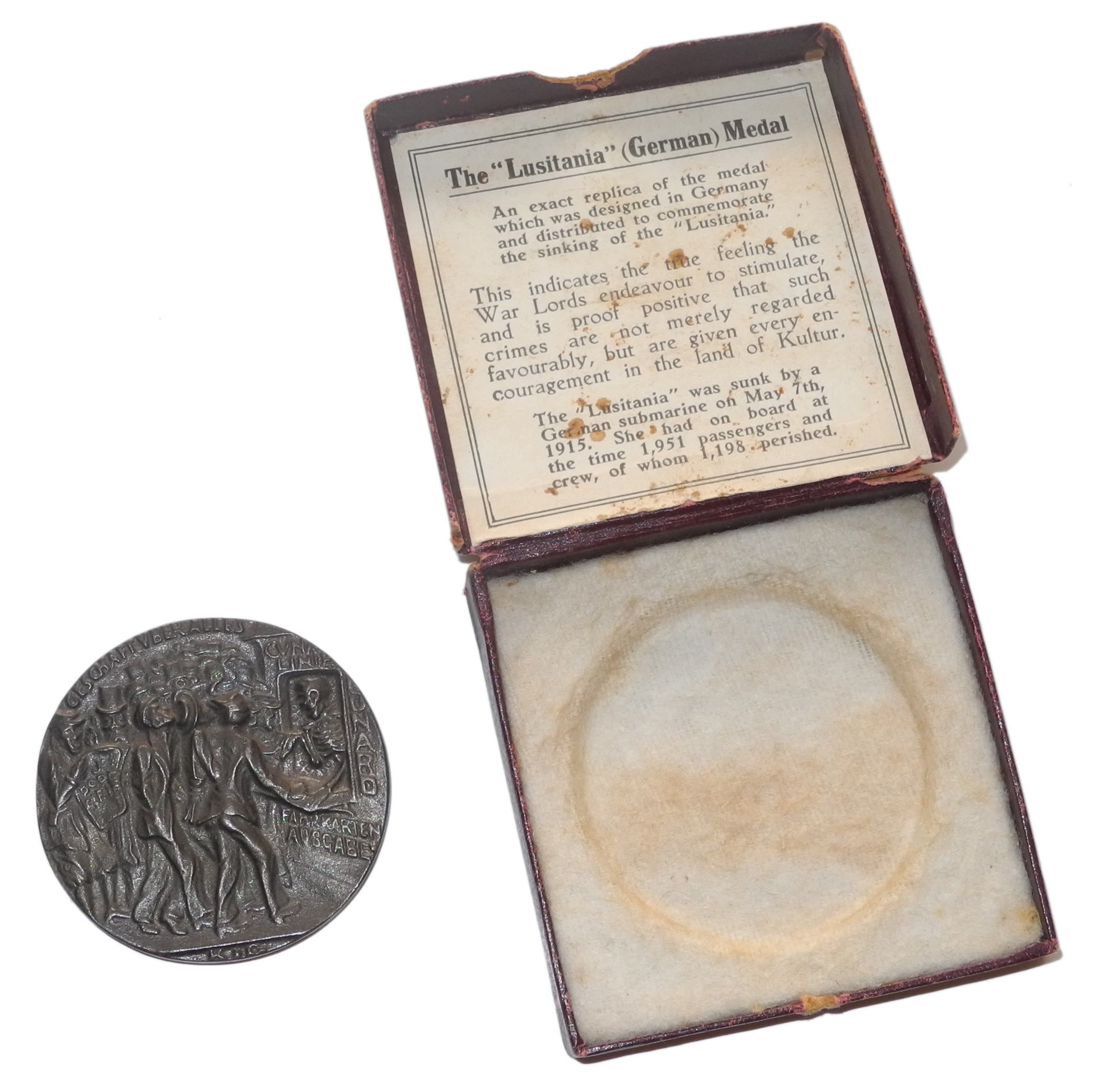 "RMS Lusitania ""commemorative"" medal"