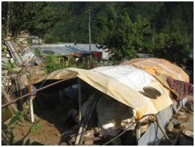 Makeshift tarp shelter