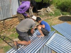 Cutting sheets of zinc