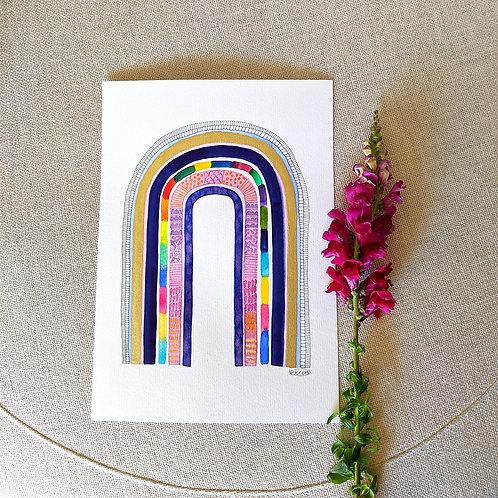 """A3 Original """"Somewhere Over The Rainbow"""" Watercolour and Ink"""