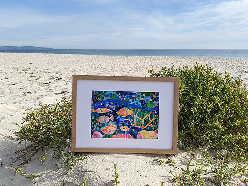 "A4 Original ""Coral Collision"" (Frame Size: 445x332mm)"