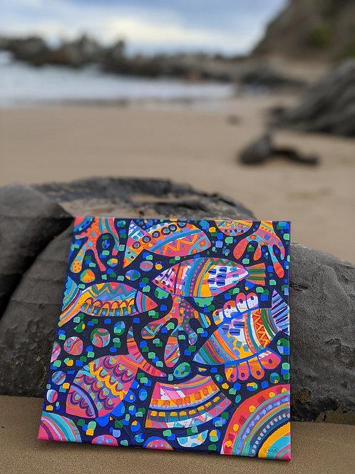 """Gone Fishing"" (Original - Unframed Canvas Size 398x396x16mm)"