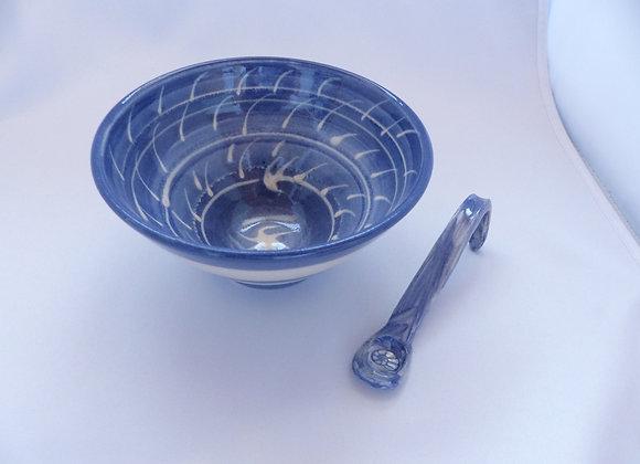 Apéroschale blau Engobe inkl. Löffel