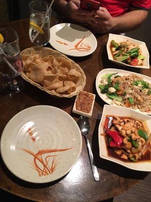 My Thai Waterloo - Shrimp Crackers, Fried Rice, Cashew Chicken, and Lemongrass Chicken