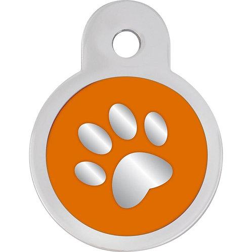 Orange Epoxy Inlay Pet ID Tag Small Circle