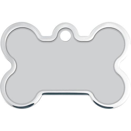 Sliver Bone Raised Edge Textured Chrome Pet Tag