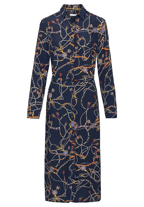 Bianca navy and gold print chain dress