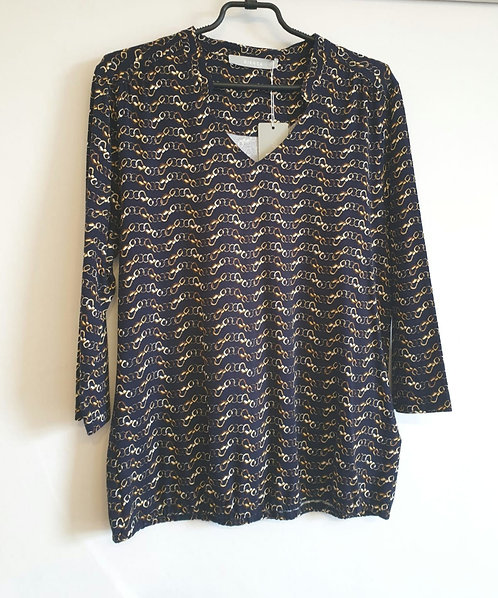 Bianca navy and gold print top