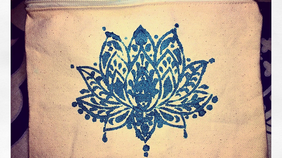 Messy Metallic Lotus Small Canvas Bag
