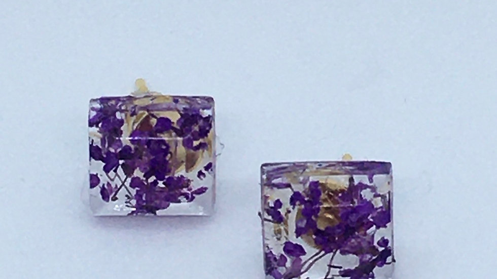 Purple Floral Studs