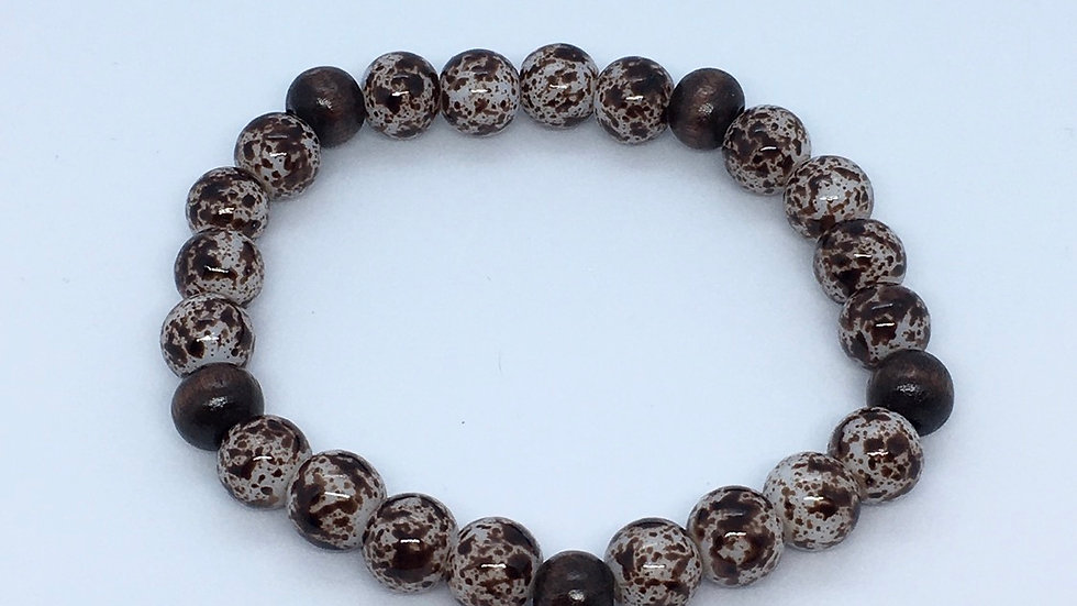 Bead & Wood Brown Bracelet