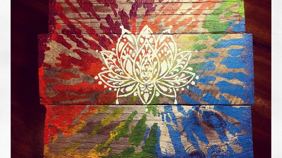 Hand Painted Lotus: Repurposed Pallet Wood