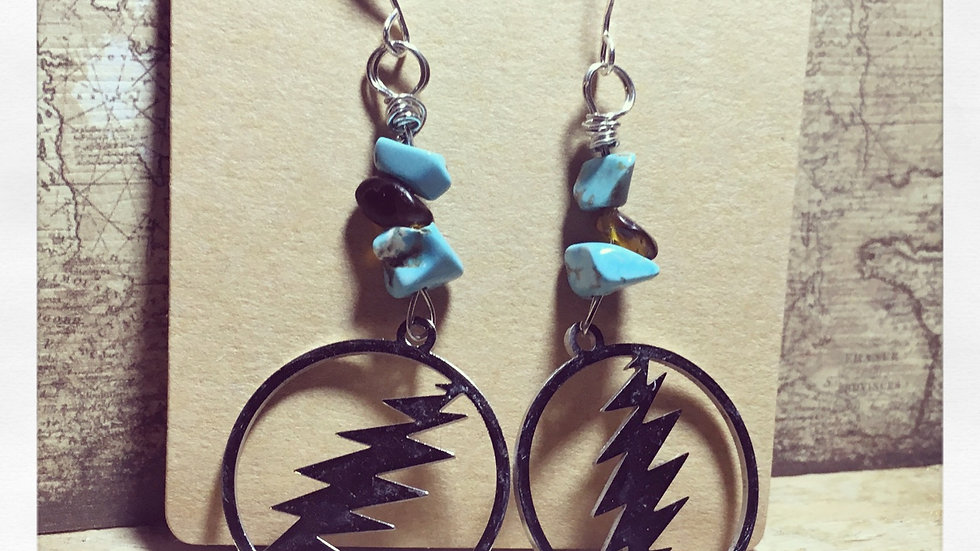 "Grateful Dead ""...the lightning will..."" Turquoise & Tigers Eye"