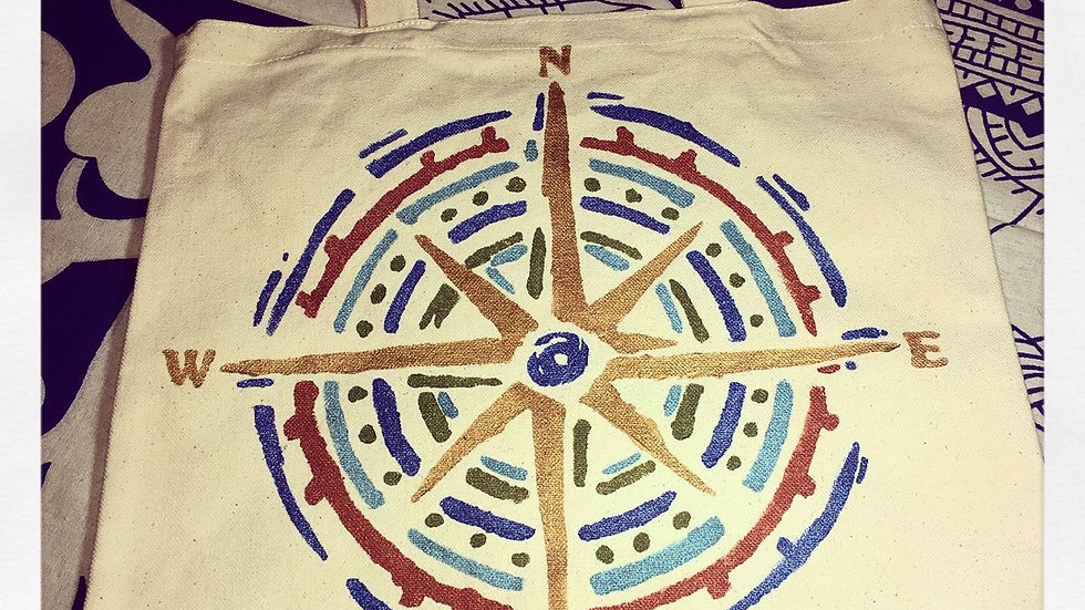 Metallic Compass Hand Painted Canvas Tote