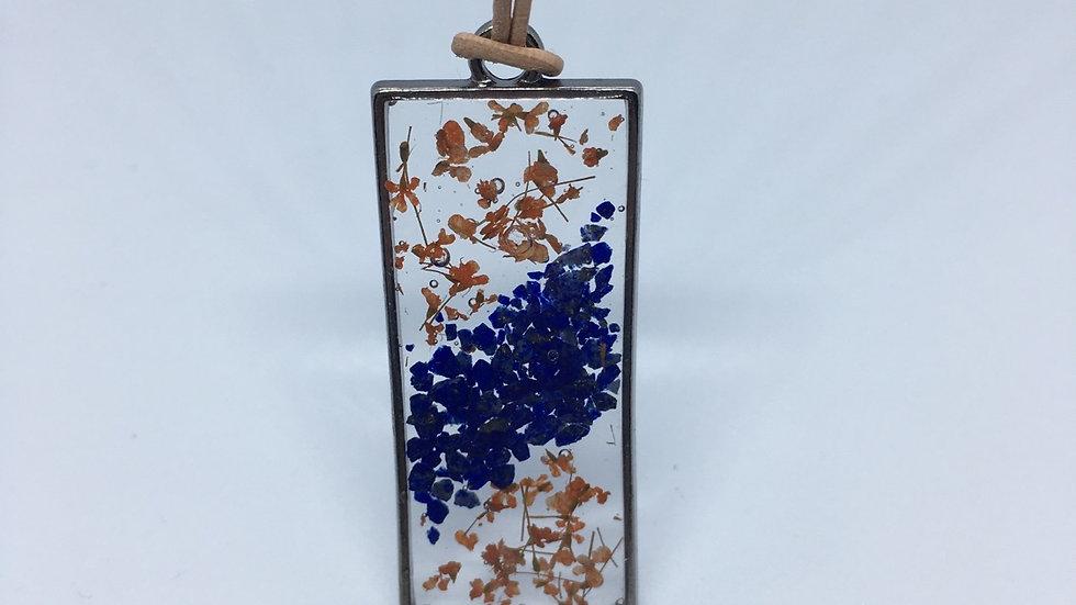Peach Floral & Blue Stone Pendant