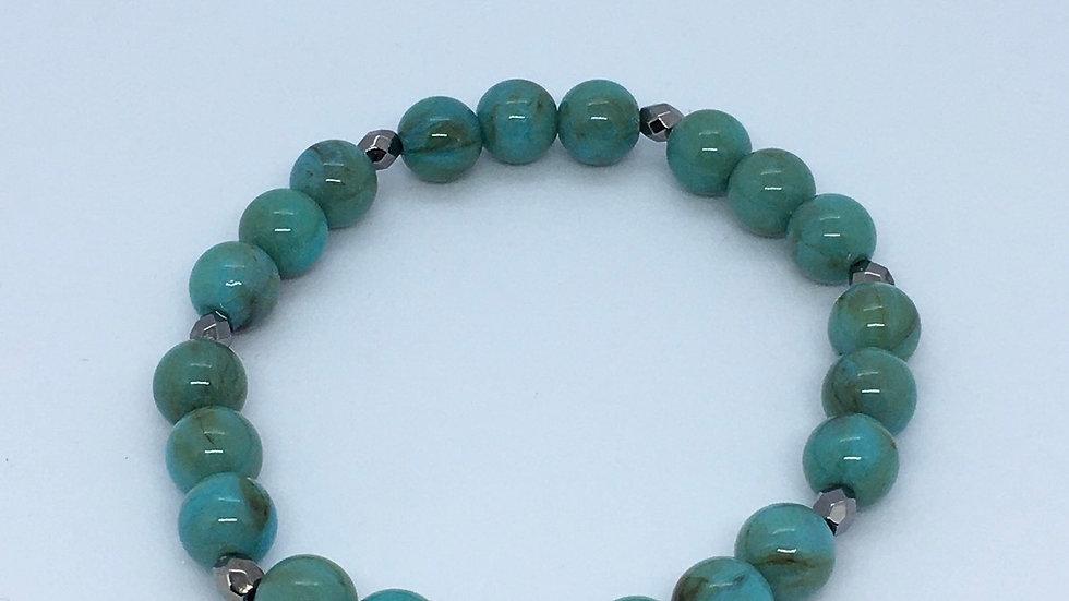 Gun Metal & Turquoise Bead Bracelet