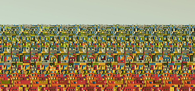 Building Blocks 3, 2008, 40 x 85 cm,  Ed. of 10, Digital painting