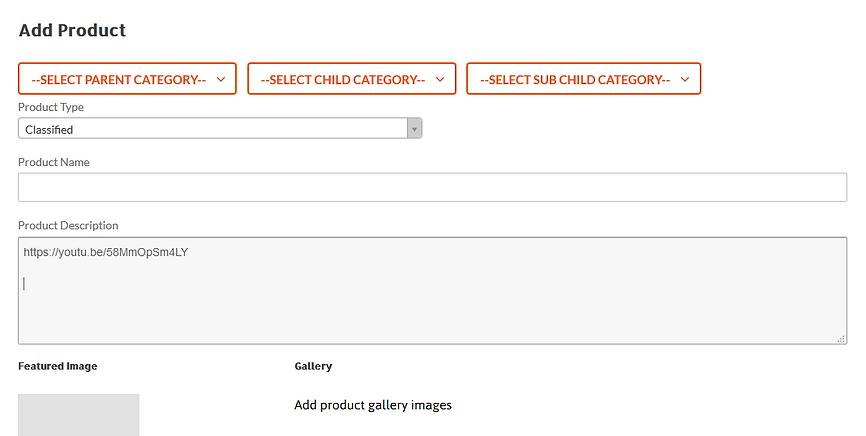 paste video url in product description.P
